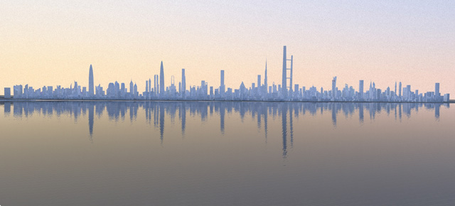 Render of the future Dubai skyline