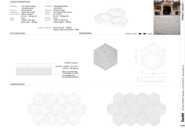 Technical Specifications of Panot Gaudi by Escofet